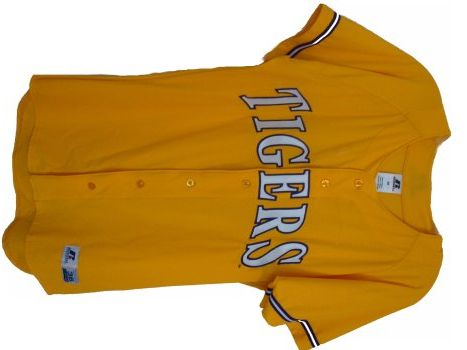 new product 7d263 2ad36 LSU Tigers Gold Mesh Baseball Jersey by Russell | gimme ...
