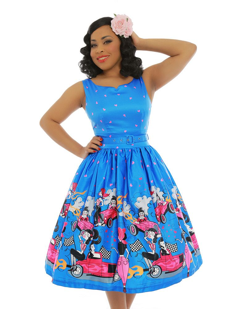 Delta Blue Hot Rod Print Swing Dress Lindy Bop Unique Dresses Retro Outfits Swing Dress