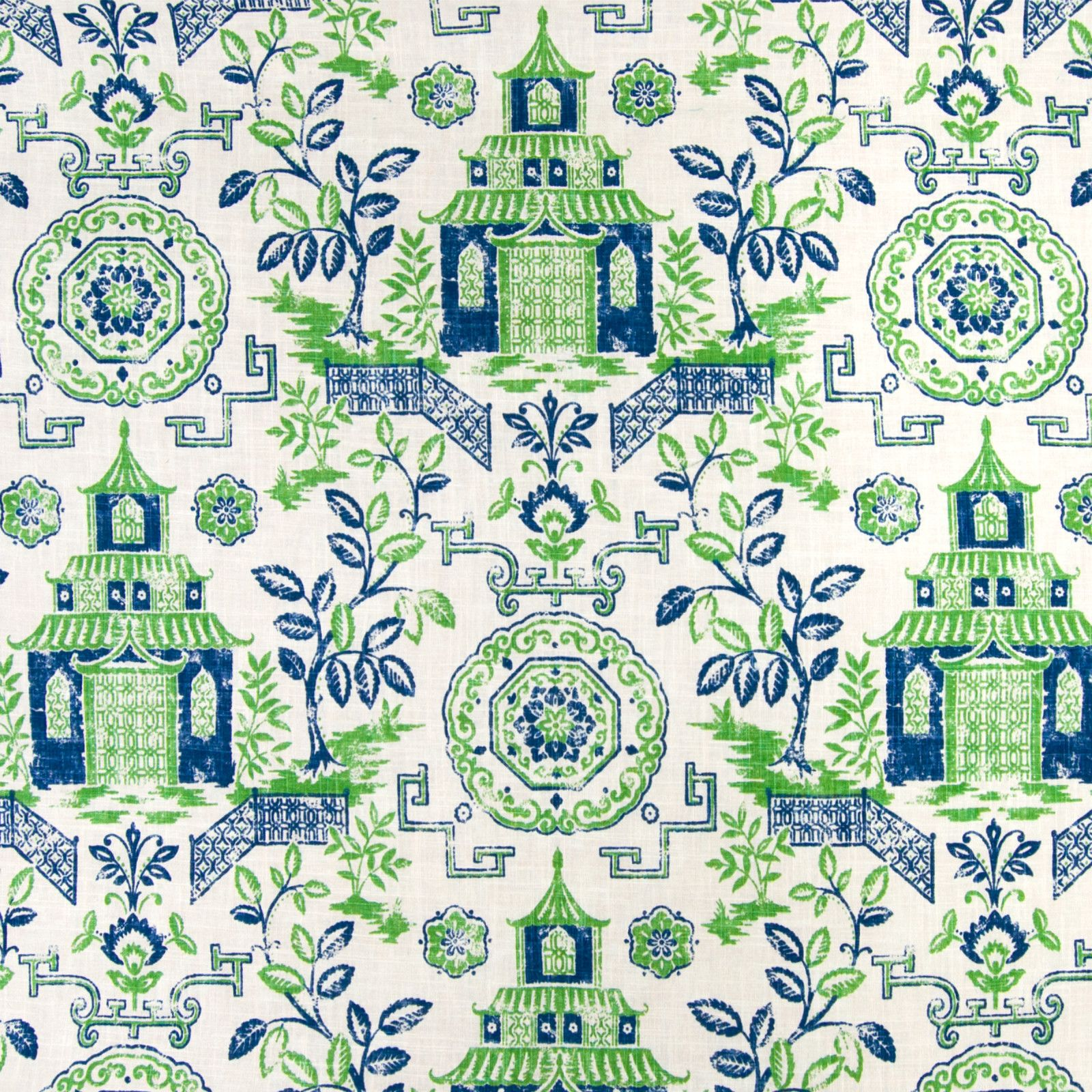 Kelly Blue And Green Asian Print Upholstery Fabric In 2019 Fabrics