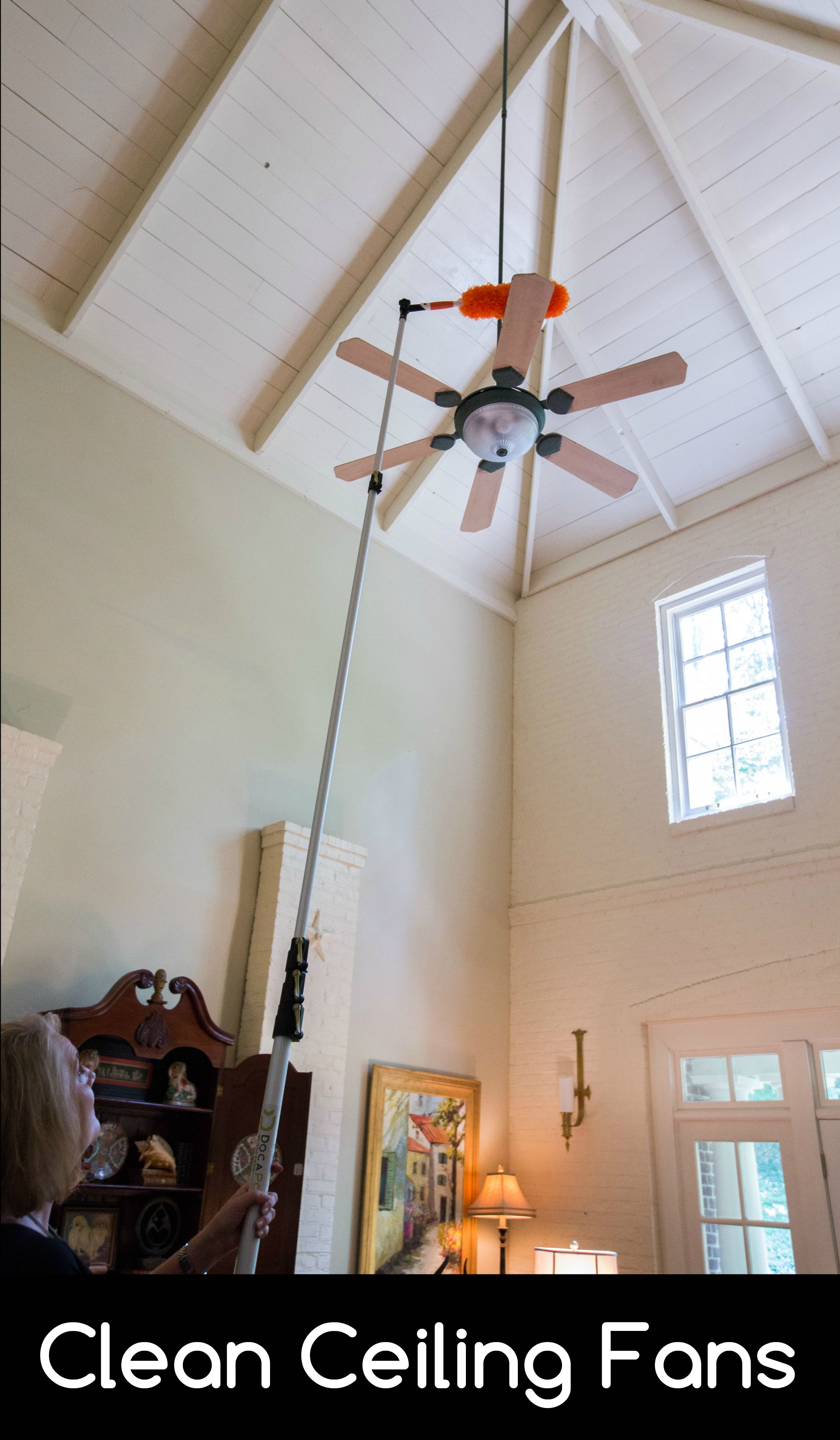 Dust Your Ceiling Fan The Easy Way Ceiling Fan Extension Pole Cleaning Gutters