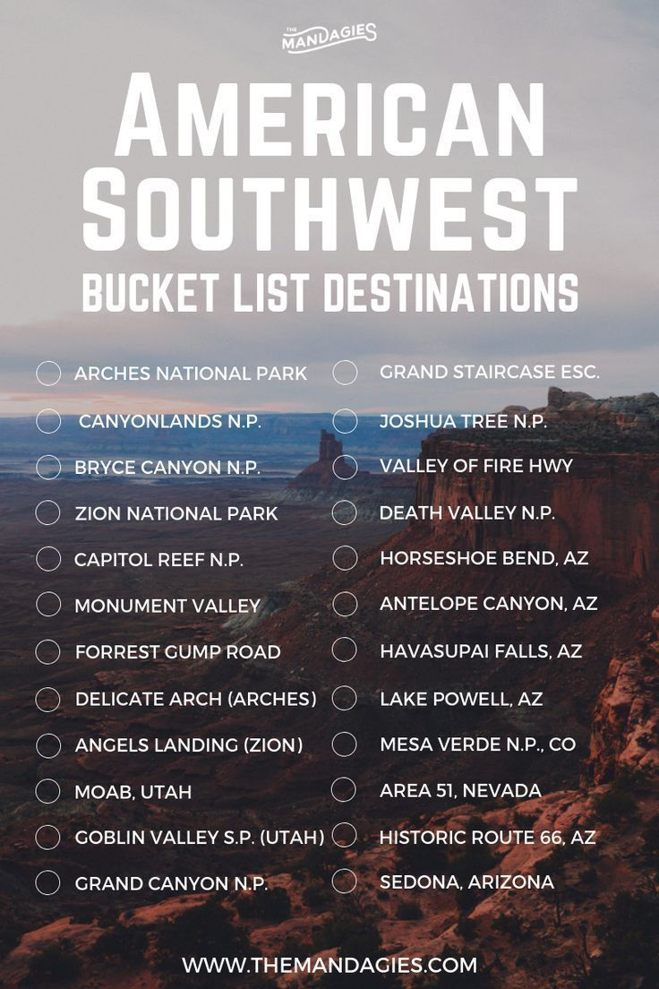 American Southwest Bucket List. This includes areas like Utah, Arizona, Colorado, Southern California, Nevada and more. Save this pin for outdoor travel inspiration later, and click the link for more USA travel tips! | travel destinations bucket lists top 10 adventure #utah #bucketlist #travel #americansouthwest #zion #delicatearch #grandcanyon #antelopecanyon #adventure #outdoors #photography