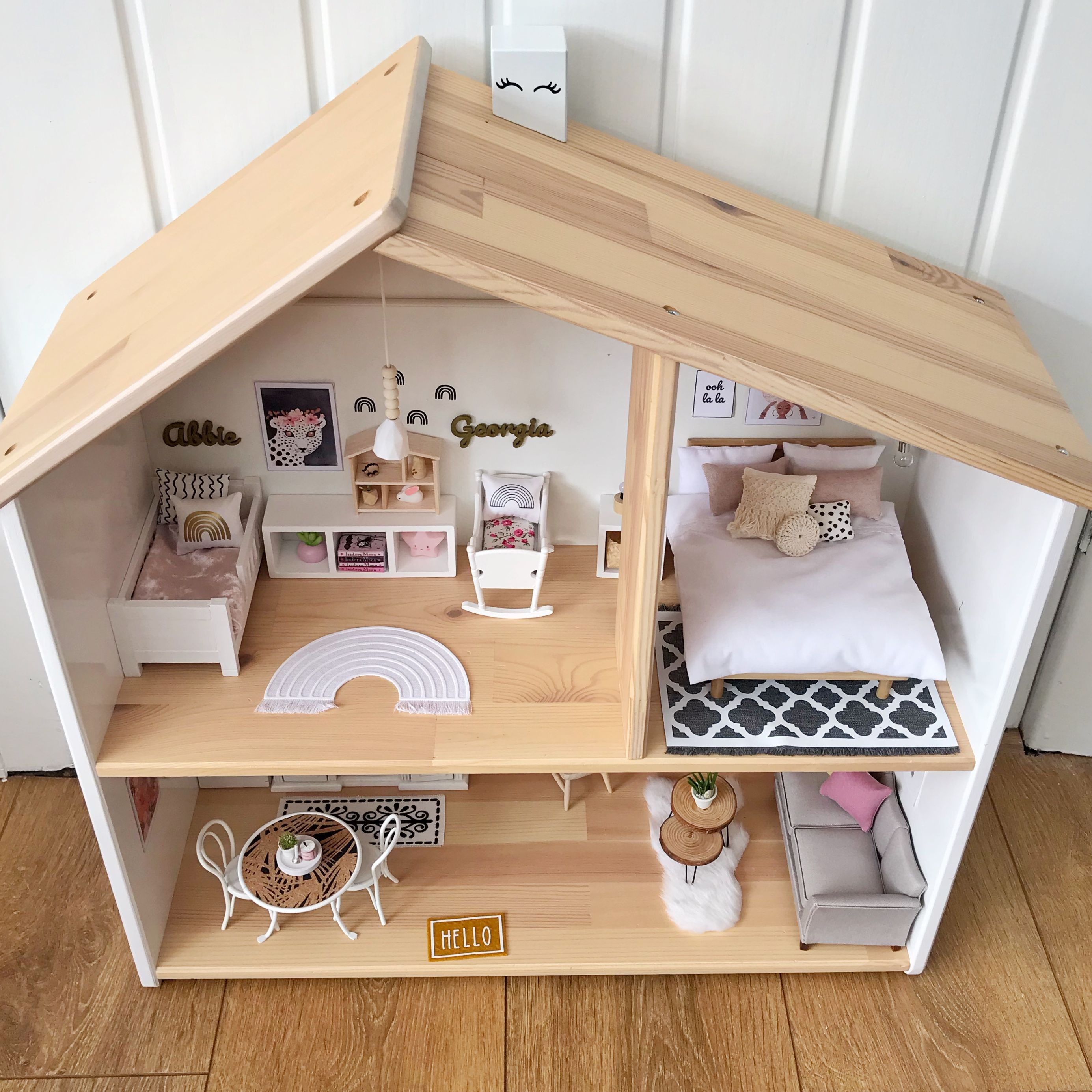 Modern dollhouse boho style - Ikea dollhouse renovation  #dollhousefurniture