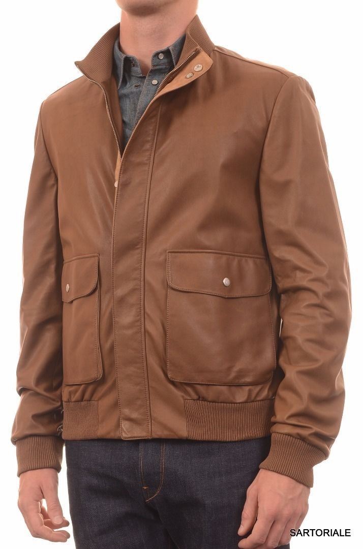 BRIONI ITALY Brown Leather Bomber Jacket EU 50 / M NEW US 40