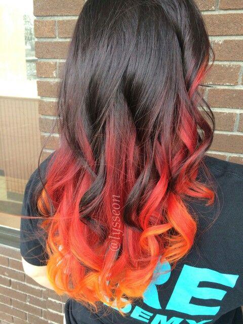Red Orange Dip Dyed Hair With Images Dip Dye Hair Hair Styles