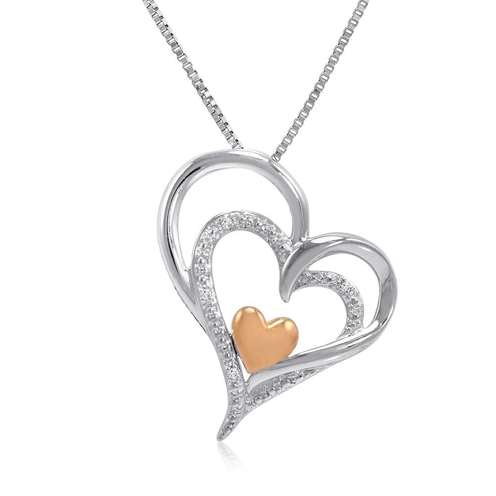 Sterling silver and k gold diamond heart pendantnecklace
