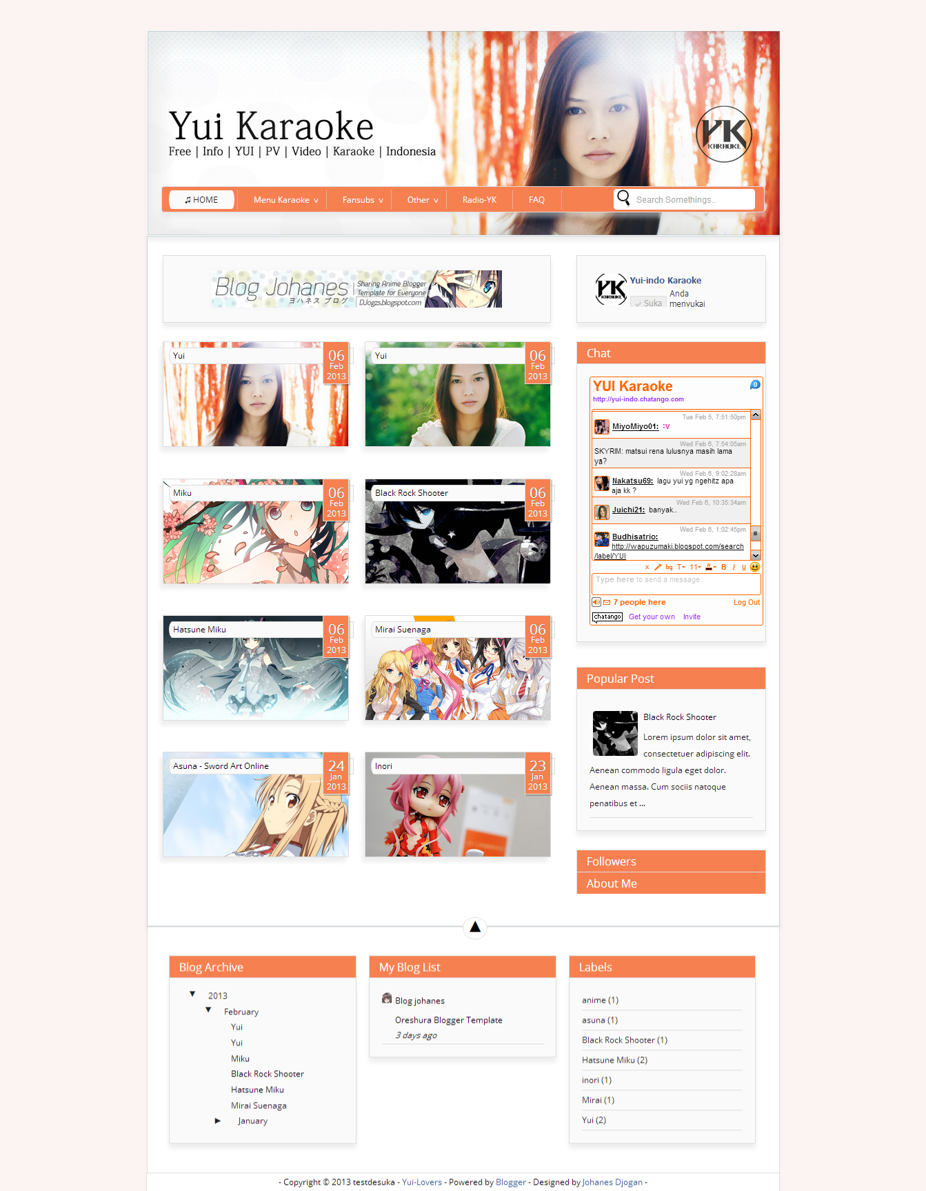 Yui Orange garden pop Blogger Template. #not for share | Template ...