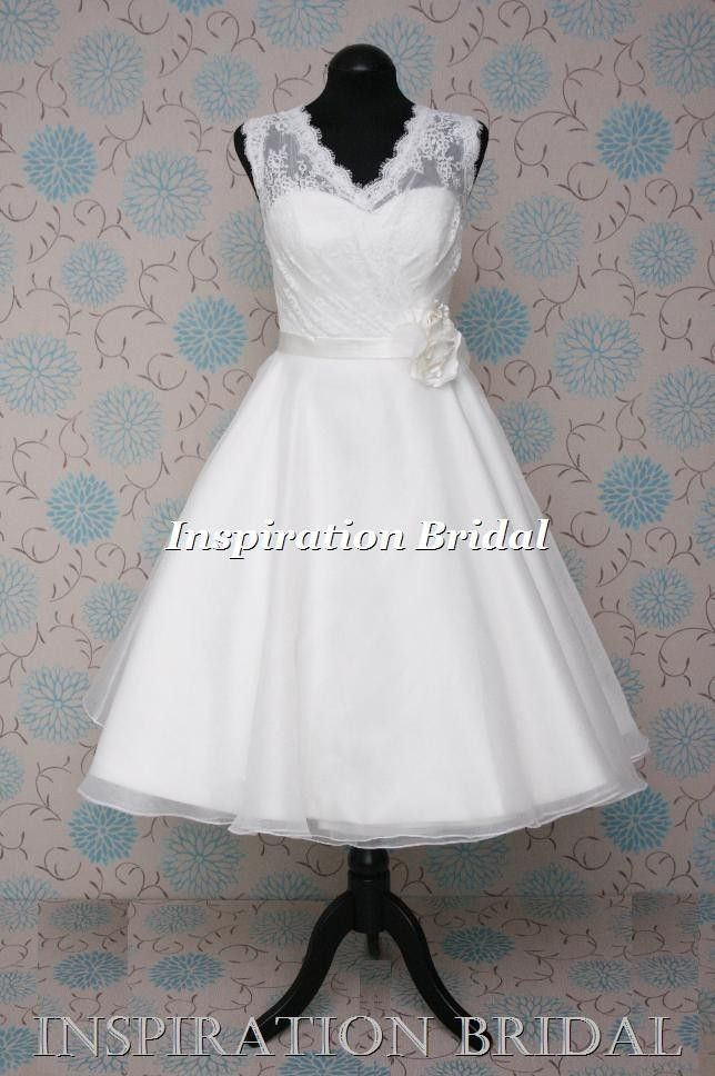 uk designer 50s 60s knee tea length short wedding dress vintage lace ...