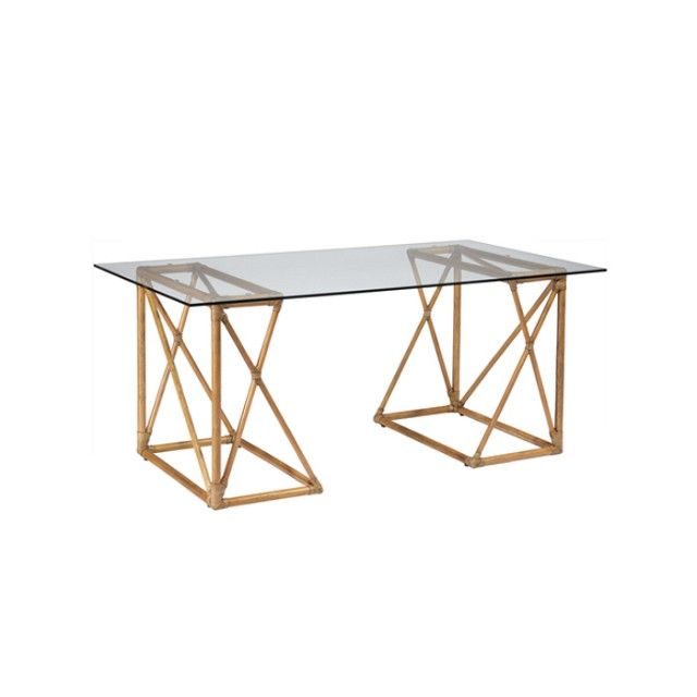 Trestle Desk, Glass Top Desk, Glass Desk