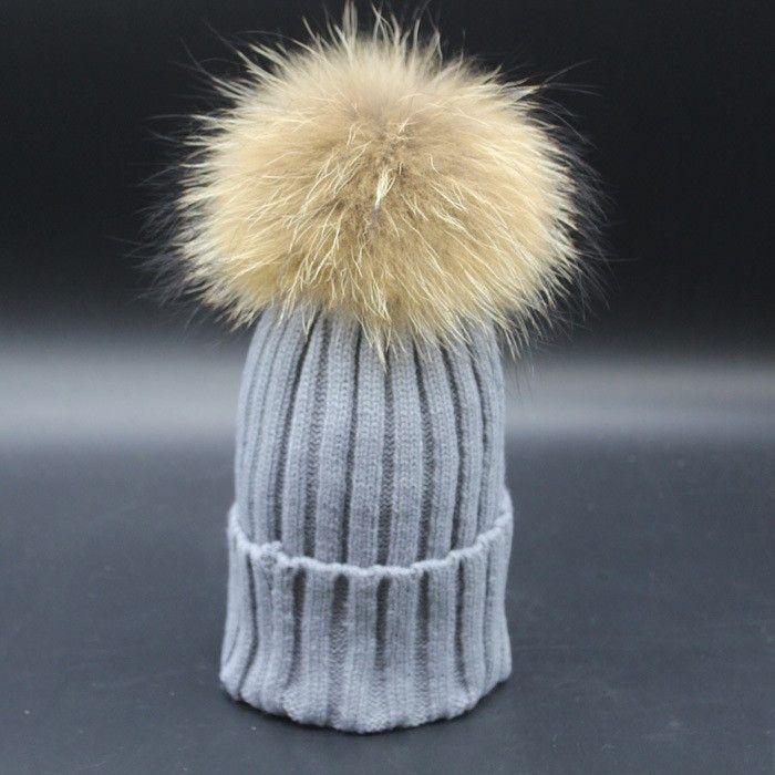 ddafdaef60bd Kids Boy Girl Knit Raccoon Fur Winter Warm Pom Bobble Hat Crochet Beanie  Ski Cap