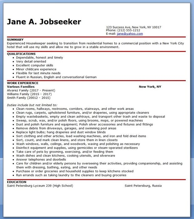 Resume for Housekeeping Job Creative Resume Design Templates - sample resume of housekeeping