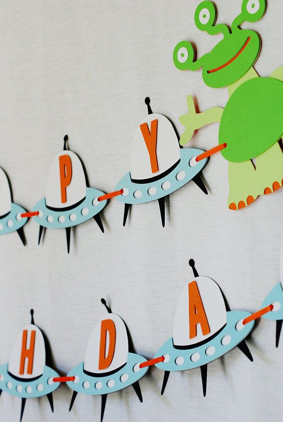 Out Of This World Alien And Spaceship Happy Birthday Banner From