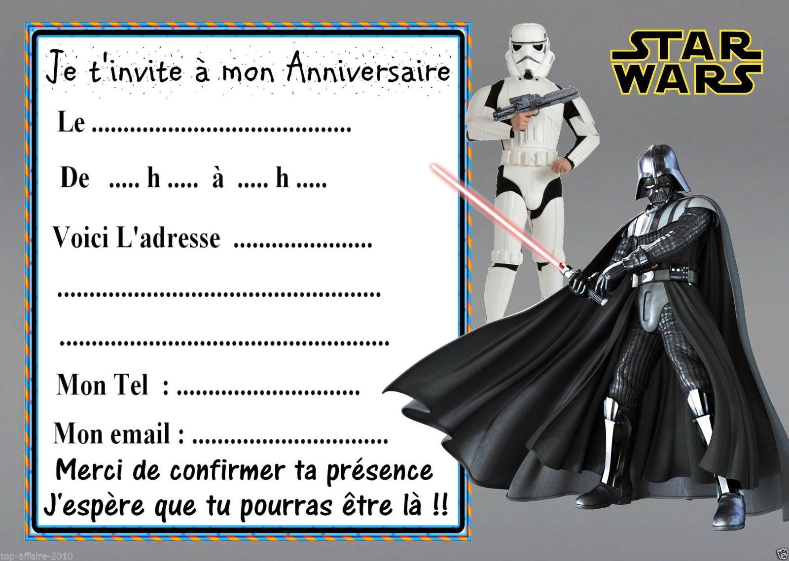 5 cartes invitation anniversaire star wars 03 d 39 autres en. Black Bedroom Furniture Sets. Home Design Ideas