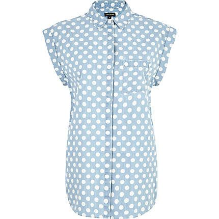 Light wash polka dot roll sleeve denim shirt £25.00