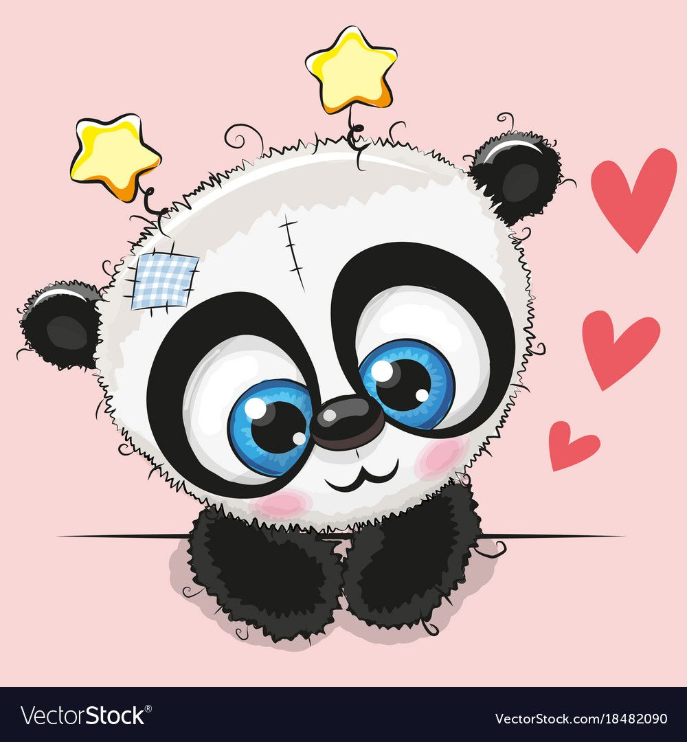 Cute Cartoon Panda With Big Eyes Vector Image On Vectorstock Panda Artwork Cartoon Panda Cute Cartoon
