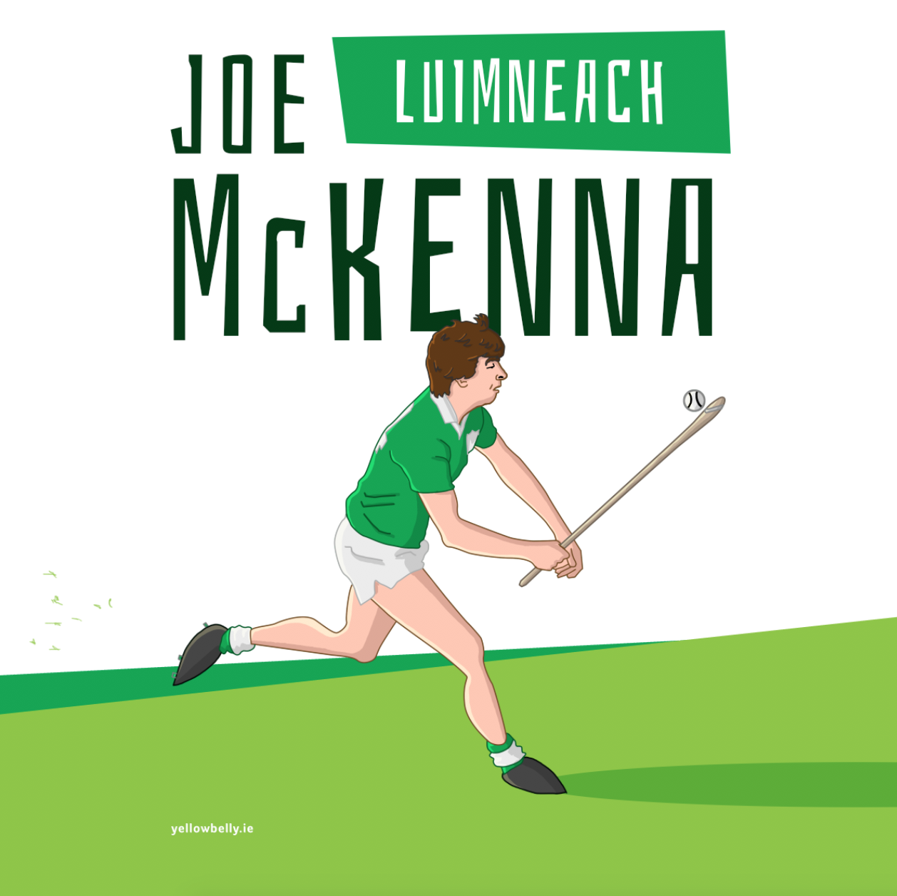 Joe Mckenna Limerick Hurling Sport Gaa Illustration Artwork Poster Munster Croke Park Yellowbelly Croke Park Sport Illustration Mckenna
