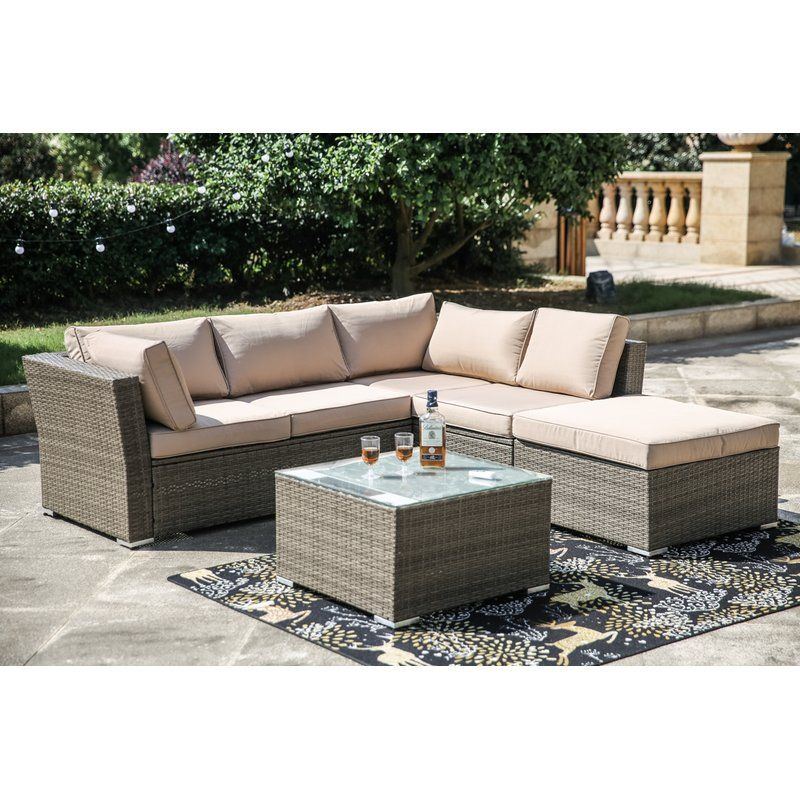 Amesbury 4 Piece Rattan Sectional Seating Group Sofa Seating Group With Cushions In 2020 Sofa Furniture Outdoor Sectional Sofa Conversation Set Patio