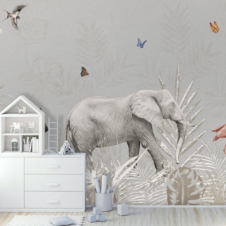 Kinderen Wallpaper Zelfklevende Peel En Stick Exotische Dieren Etsy Wallpaper Kinderdagverblijf Thema S Muurschildering
