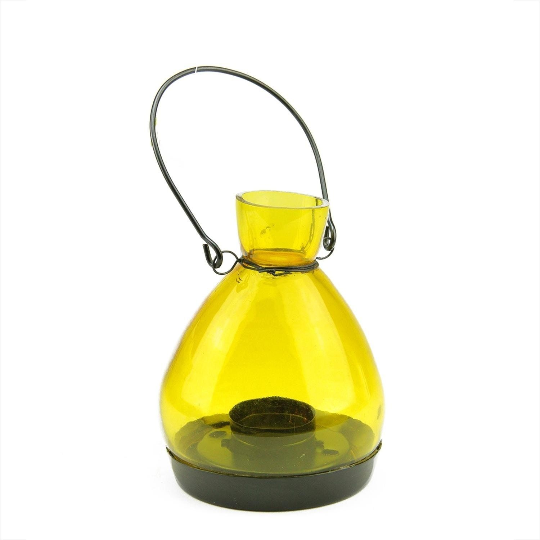 transparent yellow glass tapered bottle tea light candle lantern