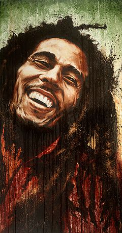Oil On Canvas Painting By Desotogi Of Bob Marley Entitled One