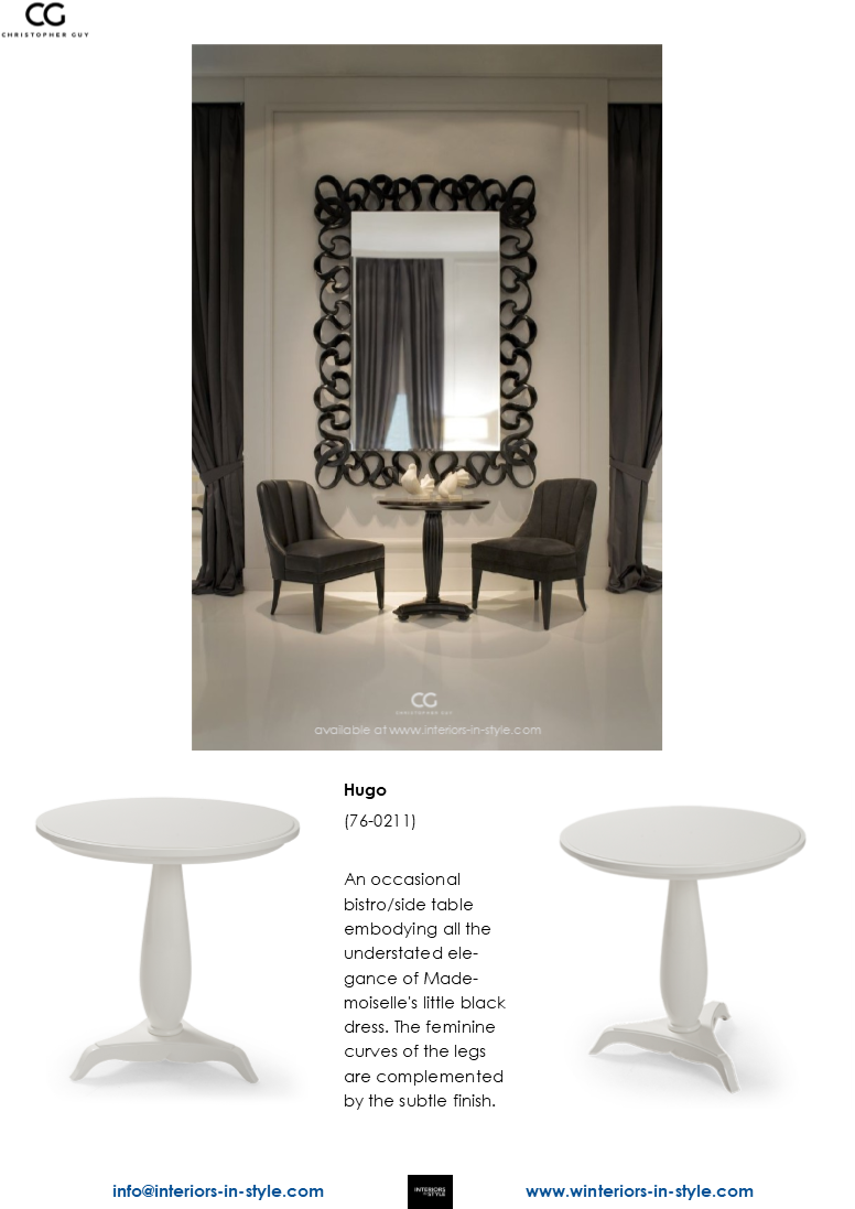 76 0211 Hugo An Occasional Bistro Side Table Embodying All The Understated Elegance Of Mademoiselle S Little Black Dress The Feminine Curves Of The