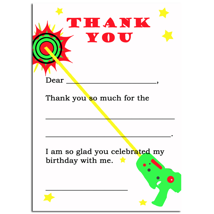 Laser Tag Flat Thank You Note Laser Tag Party Laser Tag Thank You Notes