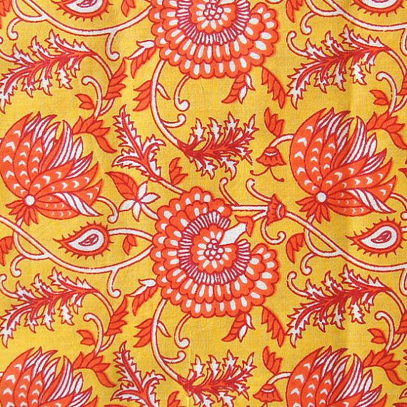 hand printed cotton fabric in yellow and orange