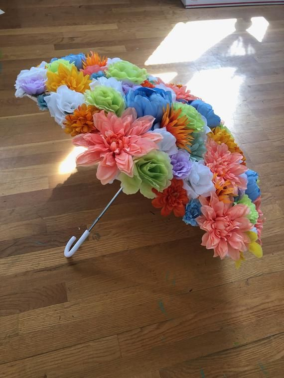 Photo of Bright Blooms Umbrella – Flower Parasol for Wedding, Brides, Bridesmaids, Flower Girl, Made to Order, Many Colors Available, Hand Made
