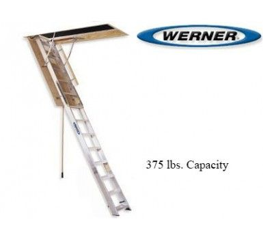 Werner Aluminum Attic Ladders Ceiling Height 7 Ft 8 In To 12 Ft Attic Ladder Ladder Attic
