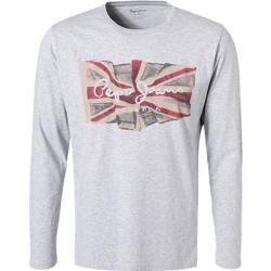 Photo of Pepe Jeans Herren T-Shirt Longsleeve, Regular Fit, Baumwolle, hellgrau Pepe JeansPepe Jeans