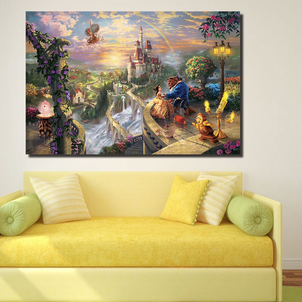 Beauty and Beast Print Oil Painting on Canvas Wall Art Mural Home ...