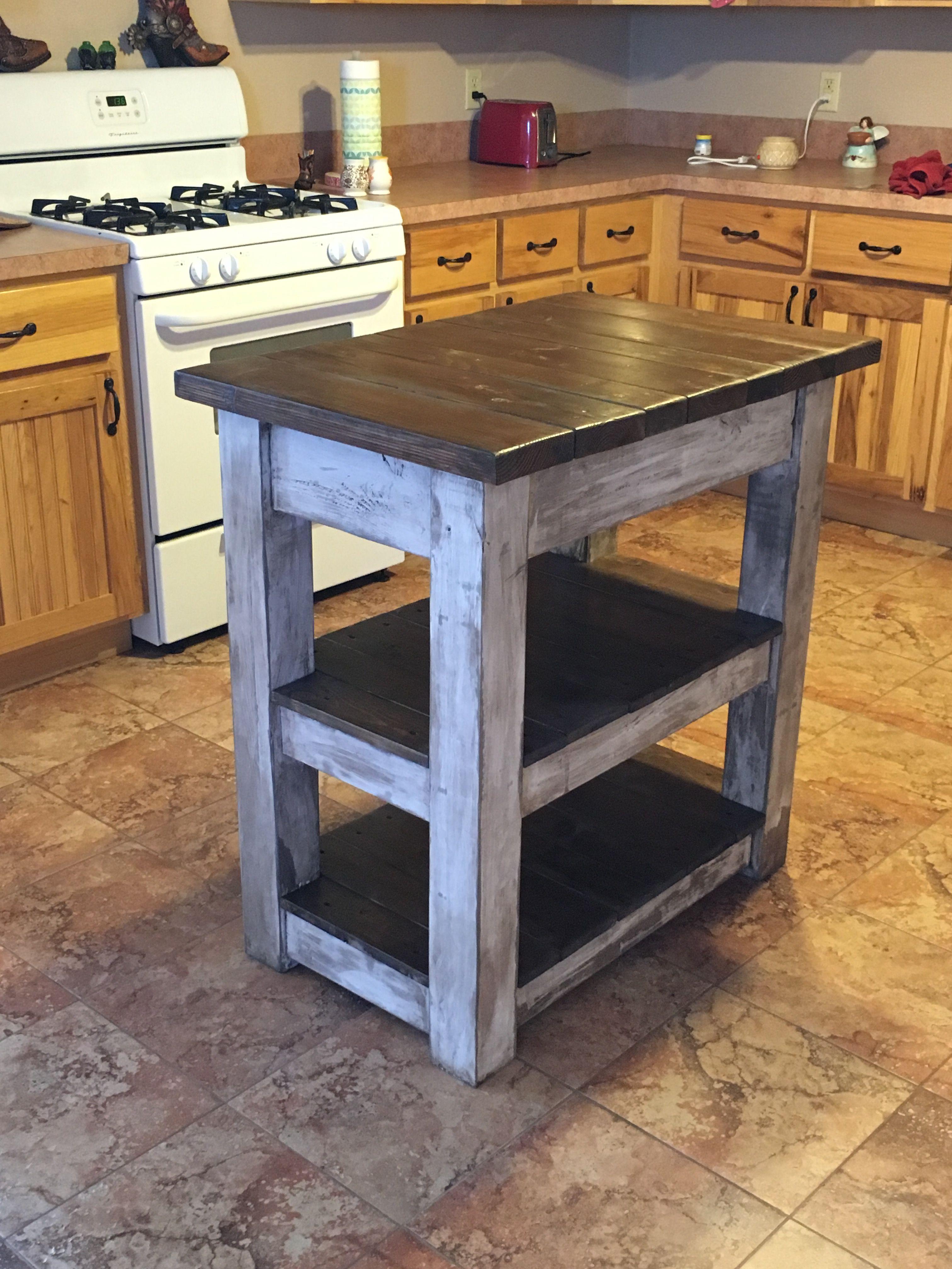 2x4 Kitchen Cabinets : kitchen, cabinets, Kitchen, Island, Legs,, Frame,, Shelf, 1x4's, Furniture,, Table, Makeover,, Design