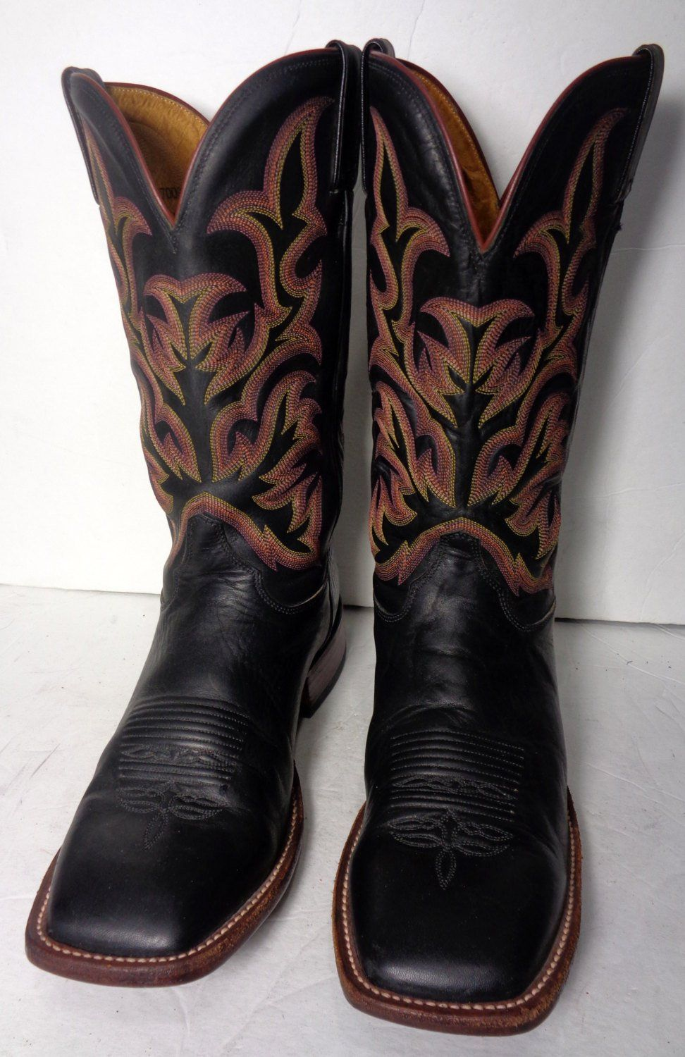 Justin Black Leather Square Toe Western Cowboy Boots Men S Etsy