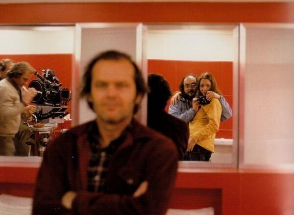 Kubrick sneaking a self shot while pretending to take one of Jack Nicholson