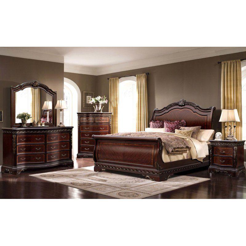 Muni Queen Sleigh 4 Piece Bedroom Set Sleigh Bedroom Set Queen Bedroom Furniture Bedroom Set