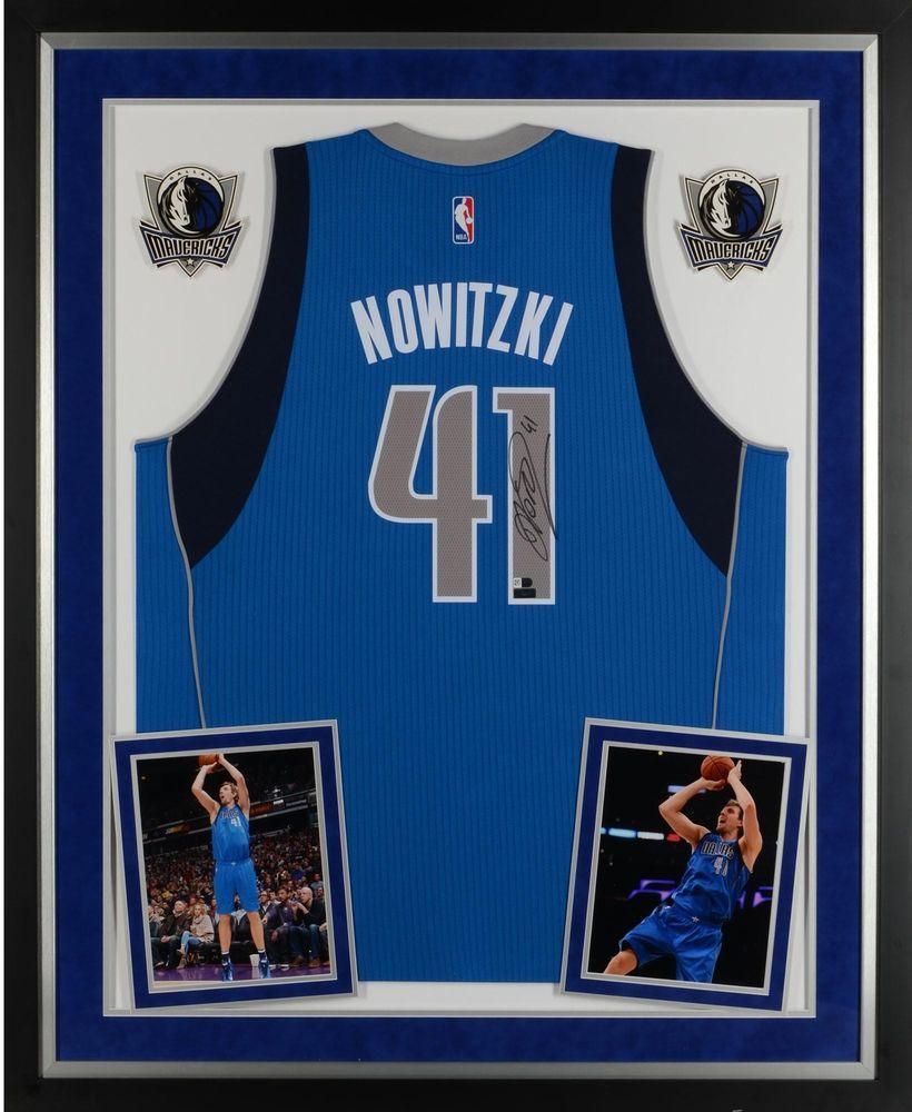 9d95a25bd5f70 Dirk Nowitzki Dallas Mavericks Framed Signed Blue Adidas Swingman ...