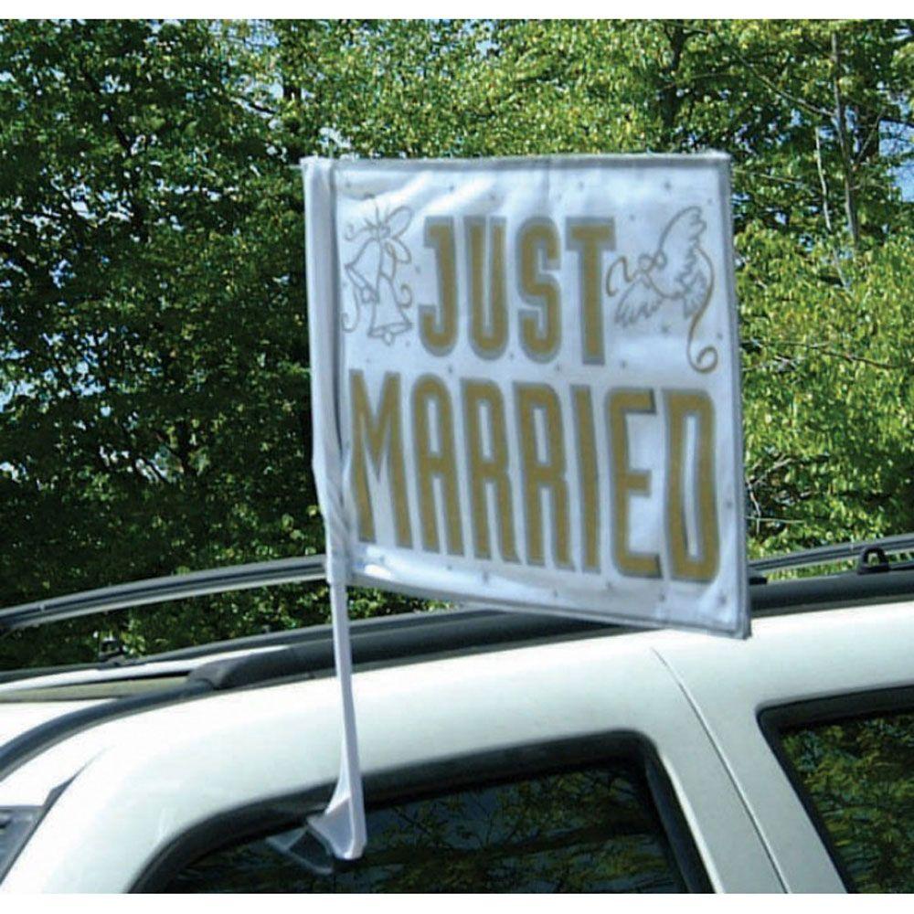 just married car flag  just married car just married
