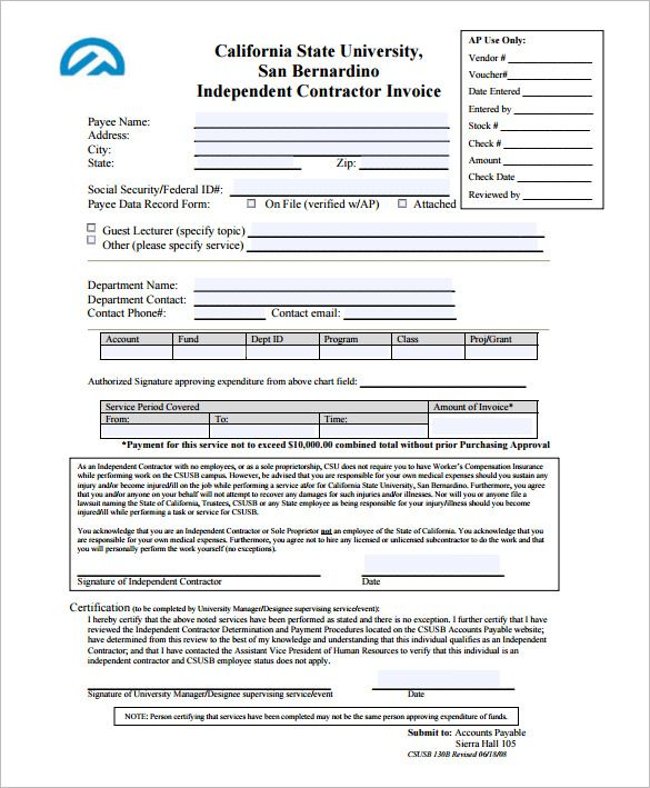 Independent Contractor Invoice Template Format Invoice Template - Free template for invoice for services rendered apple store online
