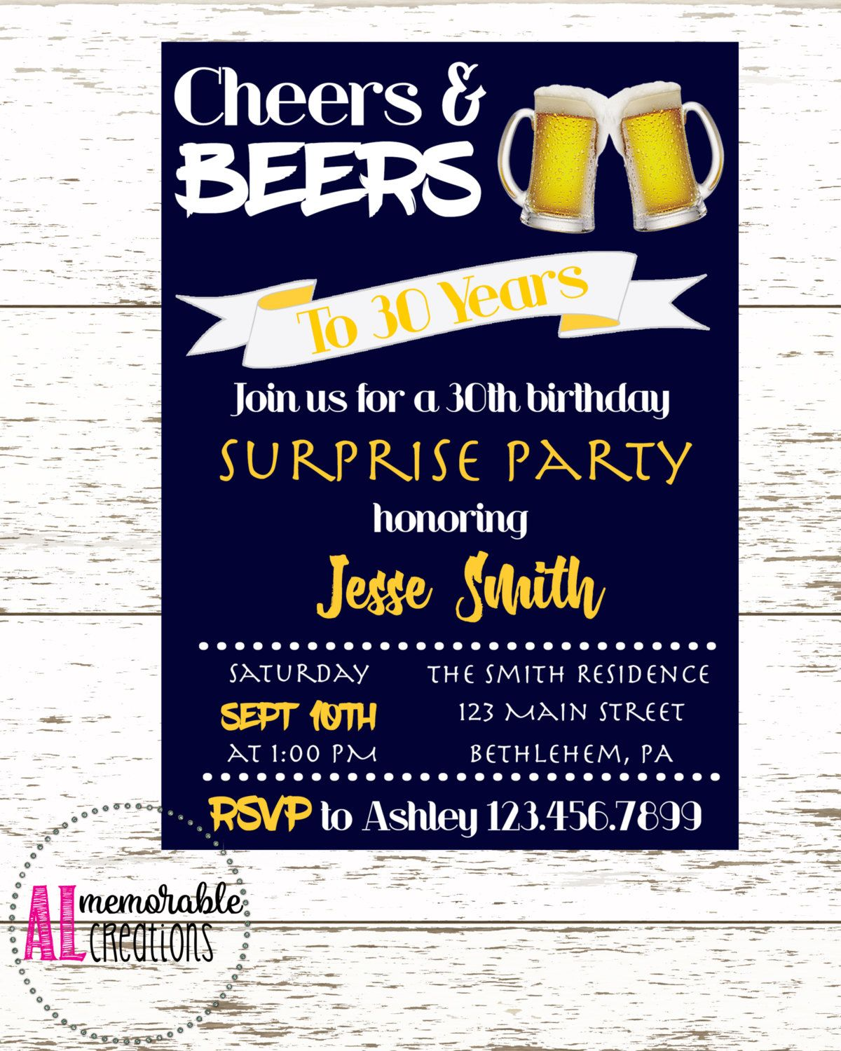 30th Birthday Invitation/Cheers and Beers/Surprise Party Invitation ...