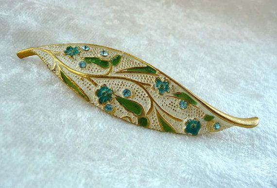 Blue Green Leaf Brooch  Enamel Signed BSK Pin by thejewelseeker, $36.00