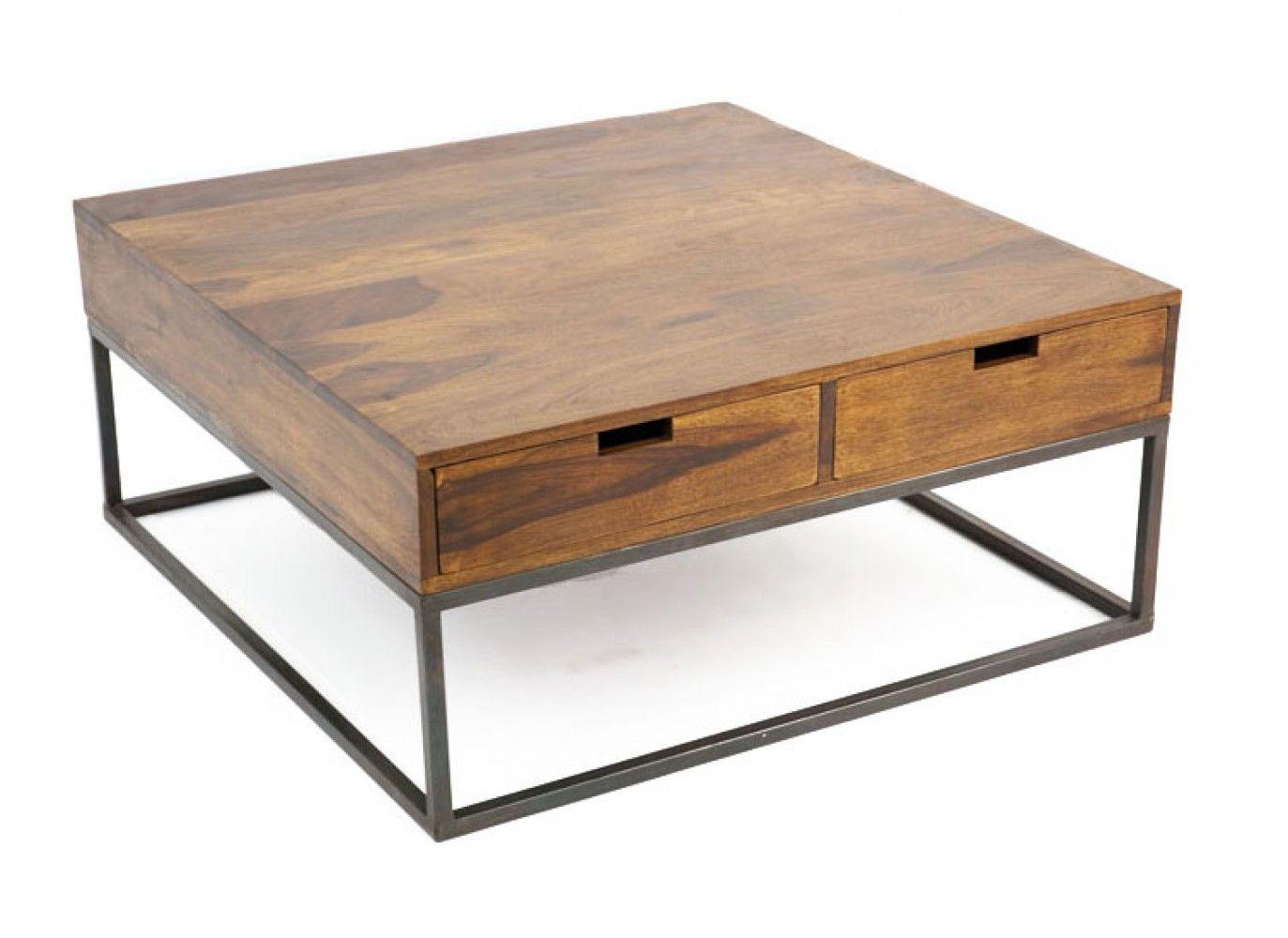 table basse design industriel 4 tiroirs bois et fer crispy