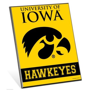 University Of Iowa Hawkeyes Logo 8 X 10 Solid Wood Easel Sign Iowa Hawkeyes Iowa Football Football Coloring Pages