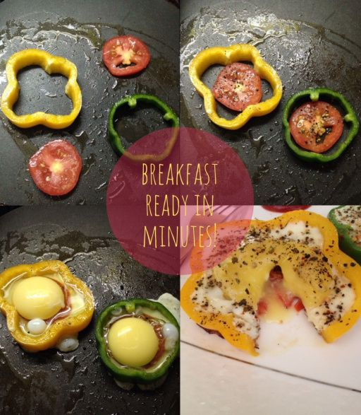 Super easy and super fun to make. Eggs in bell pepper. By far the easiest breakfast I've ever made.