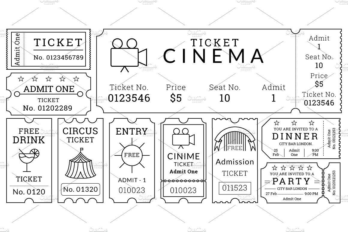 Ticket Templates Pack Ticket Design Template Ticket Template Movie Ticket Template