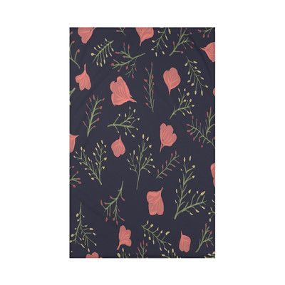 "Alcott Hill Orchard Lane Spring Blooms Floral Fleece Throw Blanket Size: 60"" L x 50"" W x 0.5"" D, Color: Navy Blue"