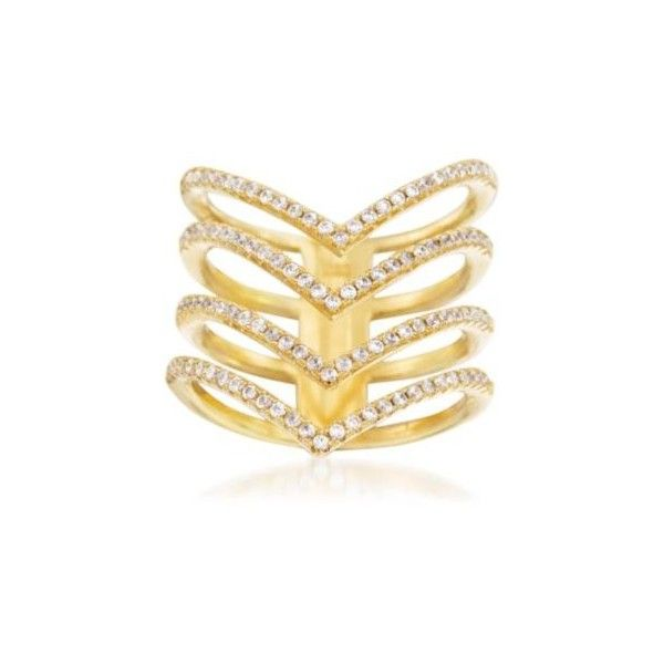 Ross-Simons 1.05 ct. t.w. CZ Multi-Row Chevron Ring in 14kt Gold Over... ($79) ❤ liked on Polyvore featuring jewelry, rings, silver, yellow gold cubic zirconia rings, cz rings, gold chevron ring, round ring i chevron ring