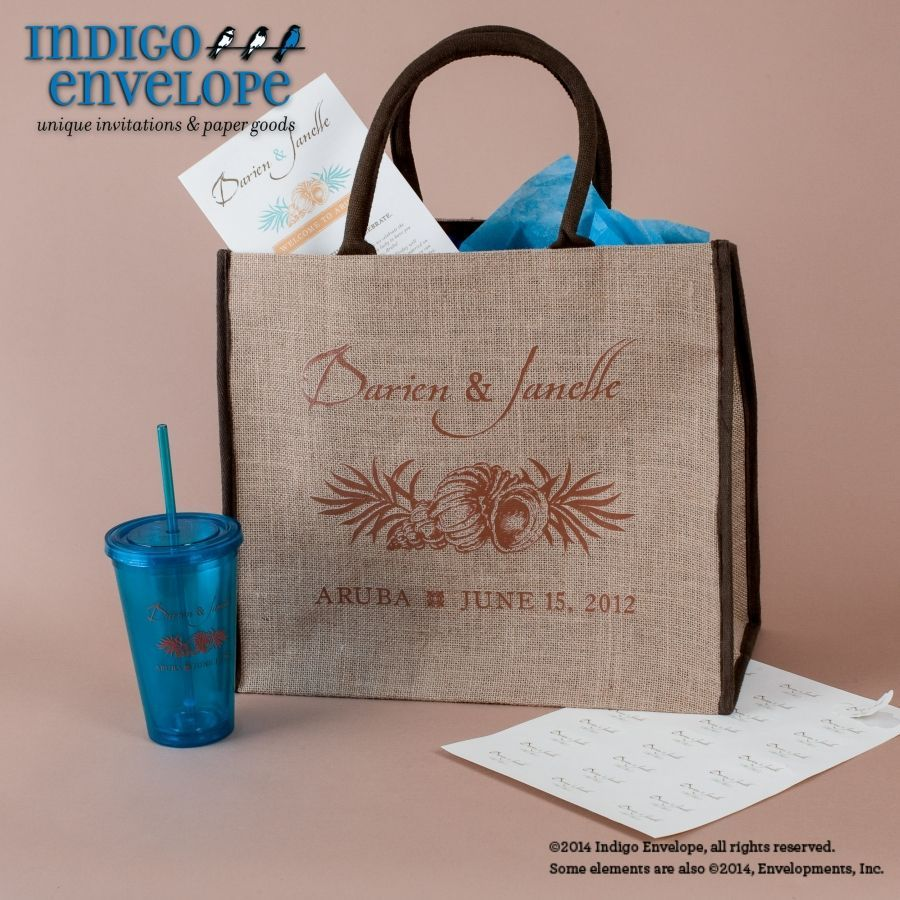 A welcome bag for when guests arrive at your destination wedding filled with go A welcome bag for when guests arrive at your destination wedding filled with go