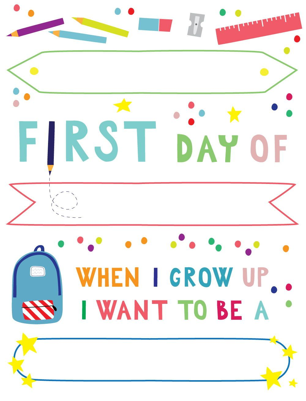 Printable Diy First Day Of School Sign Yes We Made This School Signs School Labels Printables School Readiness Activities