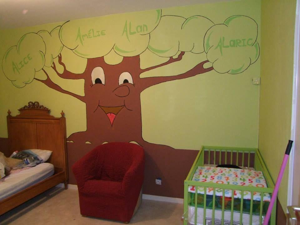 Chambre enfant theme foret magique enchant bas du mur en chocolat et le haut en vert claire for Mur chambre chocolat