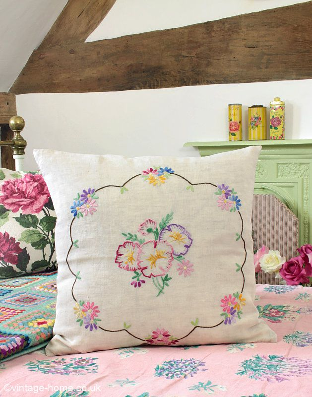 Vintage Home - Pretty Vintage Embroidered Pansy Cushion: www.vintage ...