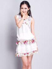 Apricot Embroidery Sleeveless Chiffon Dress